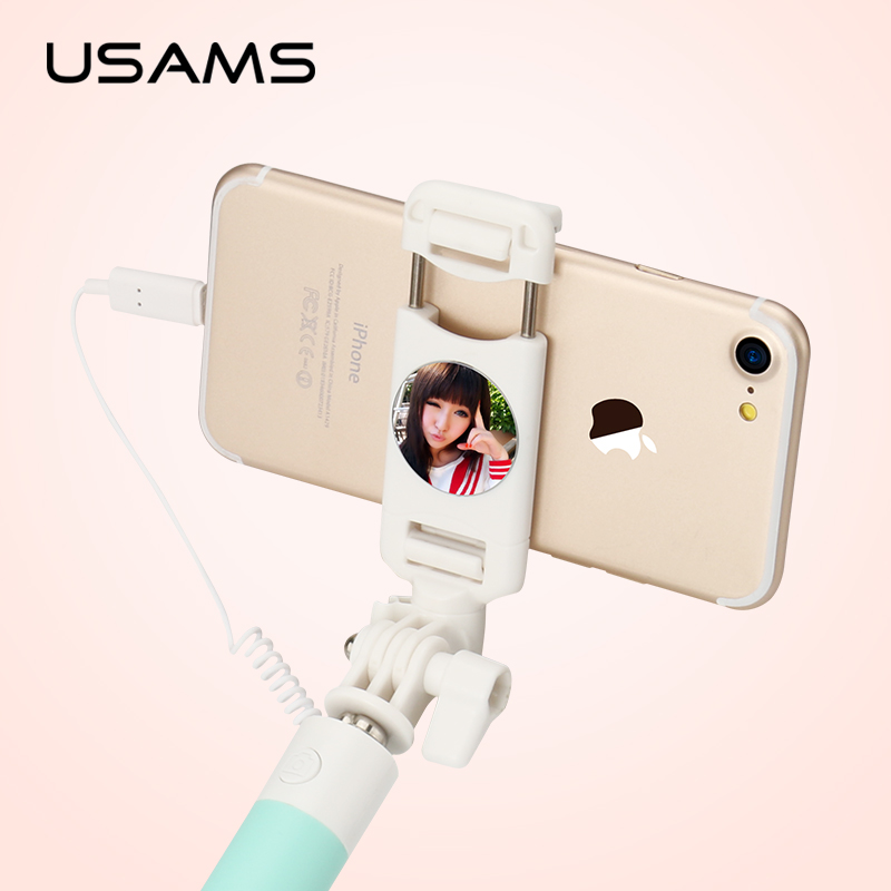 selfie stick usams wired extendable handheld monopod tripod selfie mirror for. Black Bedroom Furniture Sets. Home Design Ideas