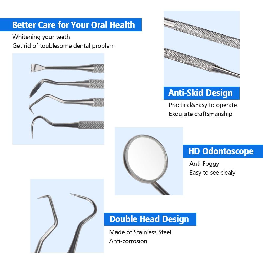 4pc Dental Hygiene Tool Kit Dentist Tartar Scraper Scaler Dental Equipment Calculus Plaque Remover Teeth Cleaning Oral Care Tool 1