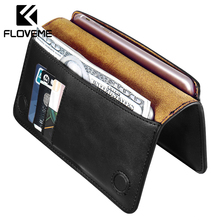 FLOVEME Genuine Leather Case For iPhone 7 6 6S Plus For Samsung S6 S7 edge Huawei P9 P10 Plus Xiaomi Capa Flip Wallet Cover Bag