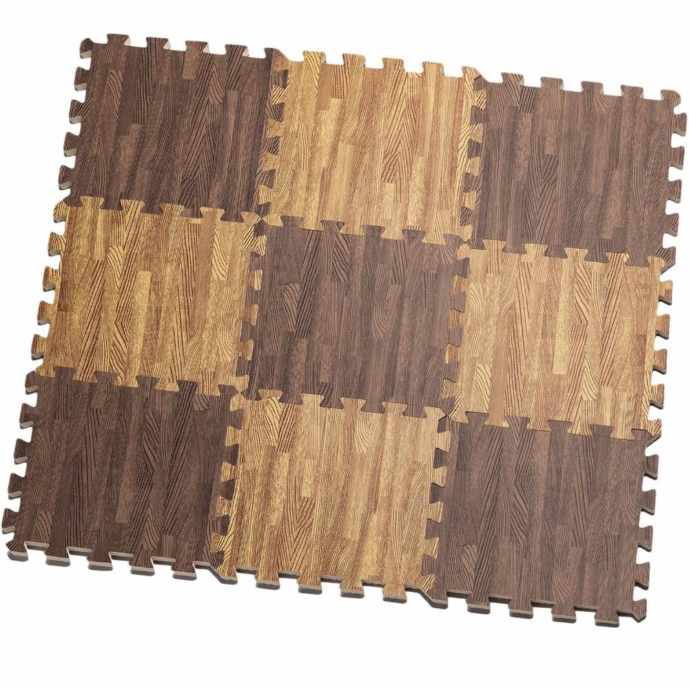 cf38355c912 16 piezas Beige marrón blanco suave Eva rompecabezas impermeable alfombra  para niño niños bebé grano de madera de espuma Anti fatiga piso Mat en  Alfombras ...