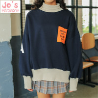 Kawaii Hoodies Streetwear Sweatshirts Korea Ulzzang Kpop Women Hoodies Pullover Thick Winter Loose Coat Sweatshirt Turtleneck