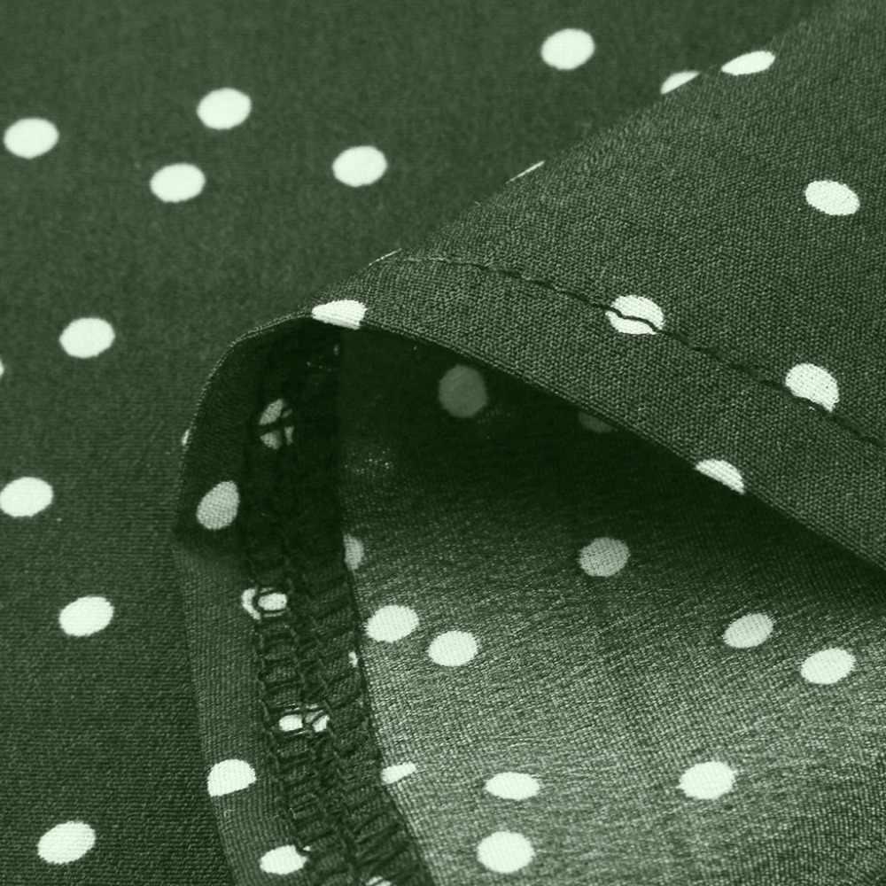 Wanita Blus Plus Ukuran Ruffle Lengan Polka Dot Chiffon Blus Wanita Musim Panas O-Leher Longgar Tops Blusas Elegantes De Mujer 15 #