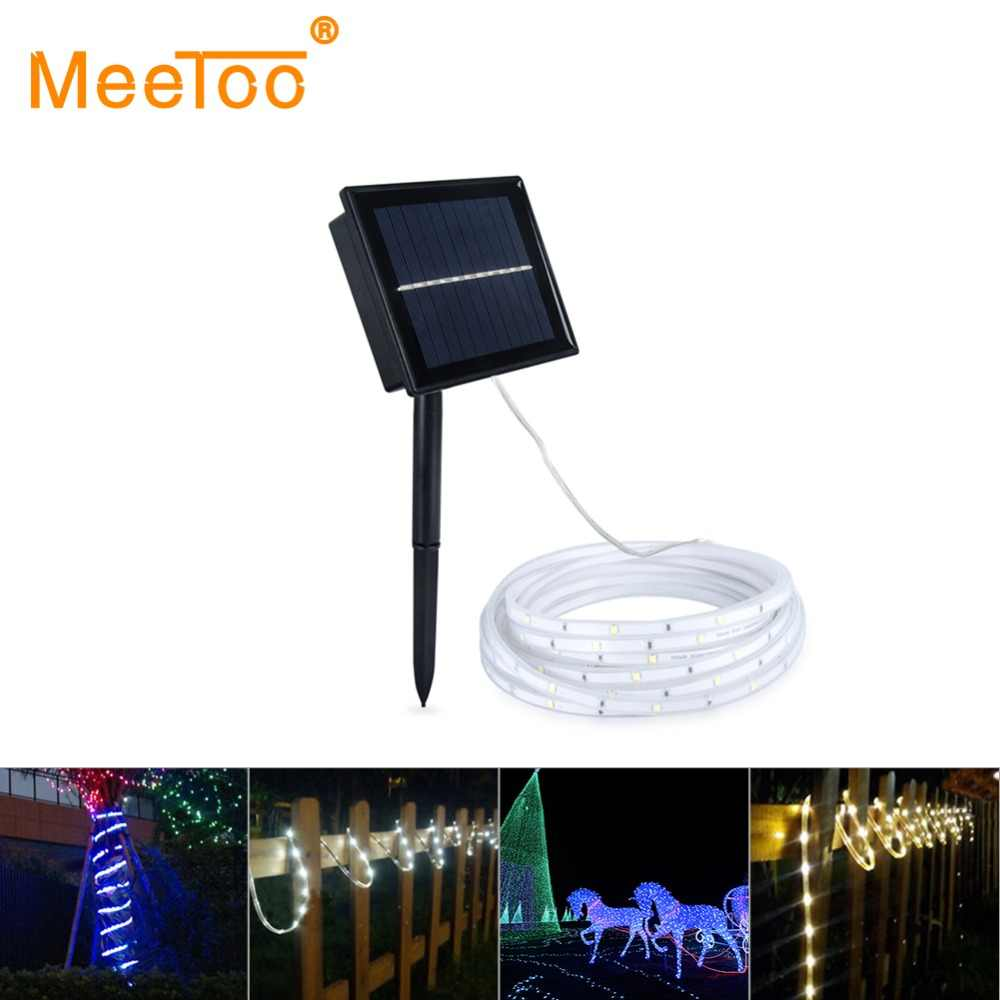 SMD2835 Solar LED Strip Light 100LED Solar Powered Waterproof Tape Ribbon Bar Tube Outdoor Lighting Decoration Garden Lawn Lamp
