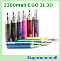 New design  3D 2200mah EGO II  Battery For Electronic Cigarette Ego/510 Thread Battery  fit CE4 CE5  mt3 e cig EGO