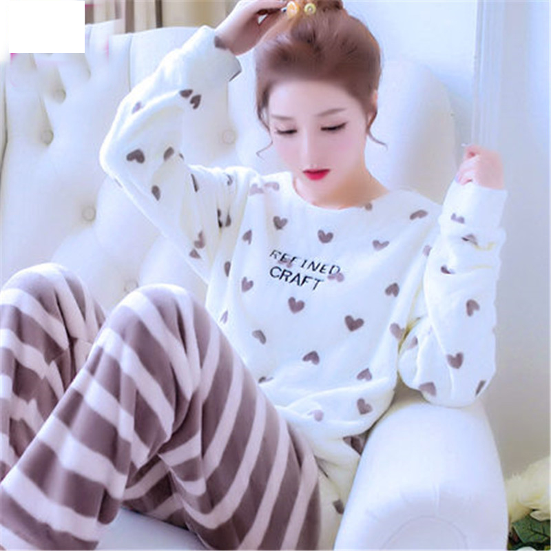 2018 new arrival autumn and winter flannel women's   pajama     set   long sleeve sleepwear couple plus size sleep   set