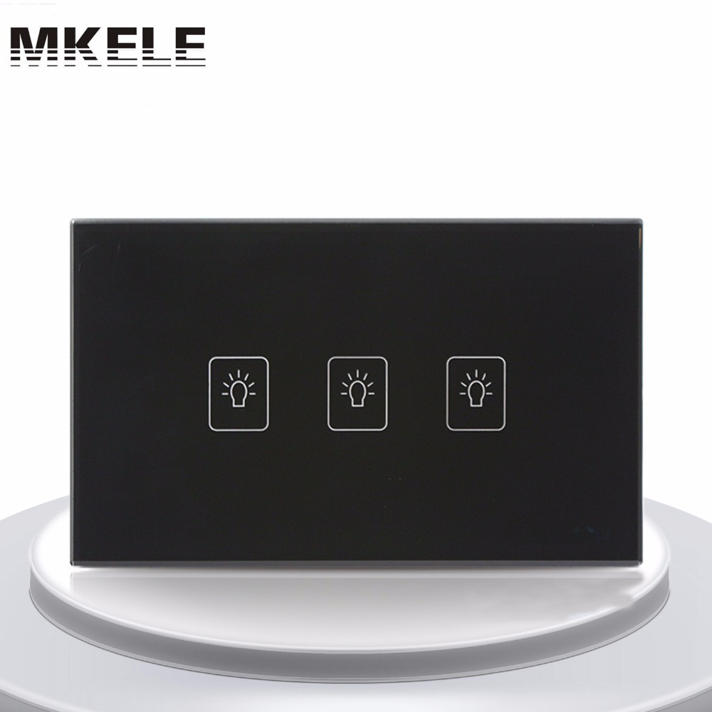 Touch Switch US Standard 3 Gang 1 Way Light Switch Touch Screen wall switch wall socket for lamp smart home us au wall touch switch white crystal glass panel 1 gang 1 way power light wall touch switch used for led waterproof
