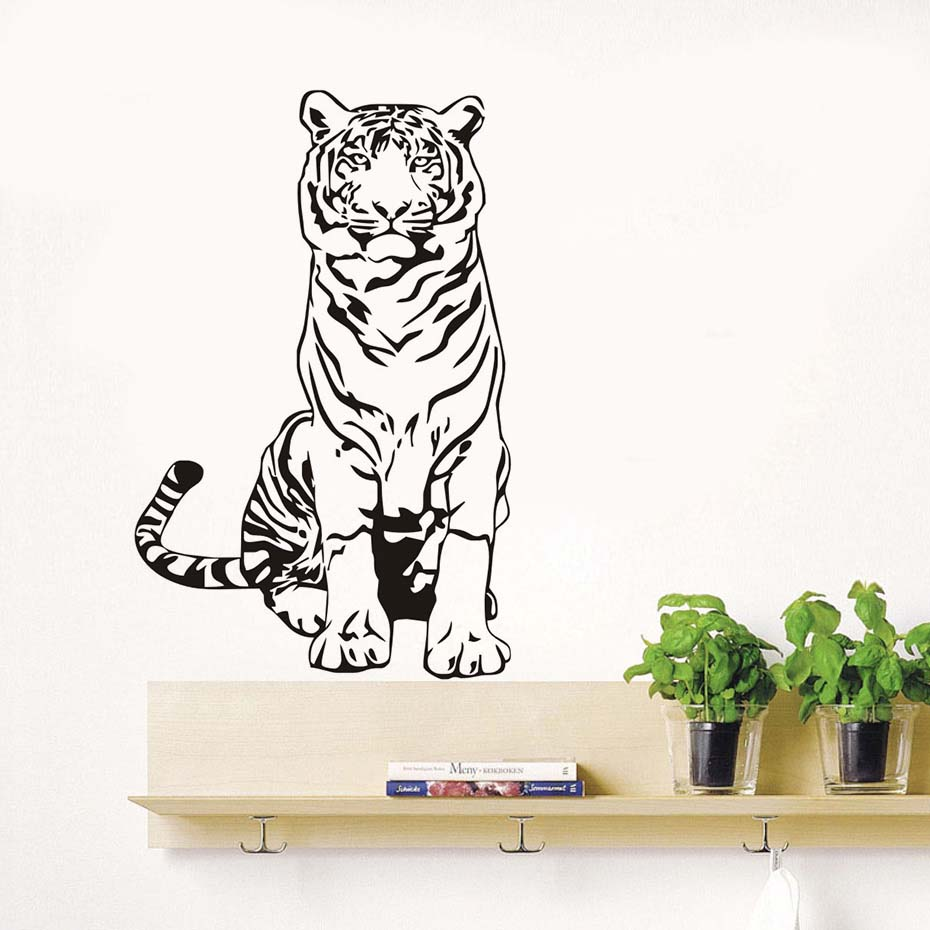 Animal Tiger Living Room Decorative Wall Stickers Home Decor Living Room Vinyl Removable Wallpaperkids Room Decoration Stickers
