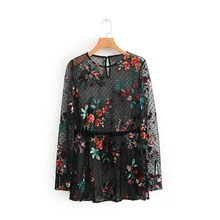 Women Mesh Sheer T-Shirt Floral Embroidered T-Shirts Transparent Tops Sexy Top embroidered mesh ruffle bardot top