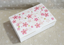 10pcs/lot Pink cherry blossoms cardboard cake box with lid, Wedding paper gift box packaging box(China)