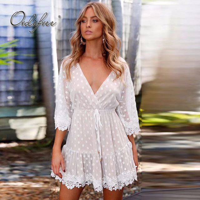 5dd9b058783b Ordifree 2018 Summer Sundress Women White Lace Dress Belted Polka Dot V Neck  Sexy Short Dress Mesh Tunic Beach Dress Robe Femme