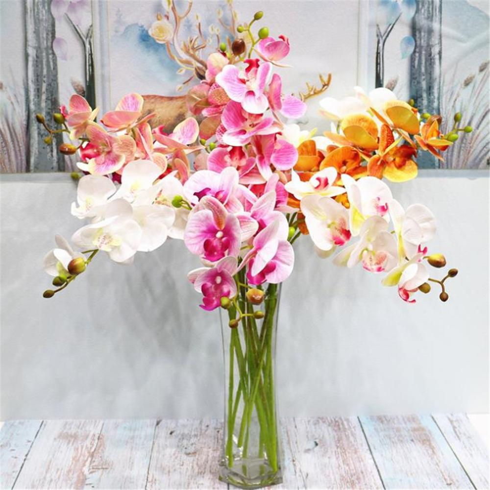 Fashion Orchid Artificial Flowers Diy Artificial Butterfly Orchid Plastic Silk Flower Bouquet Phalaenopsis Wedding Home Decor