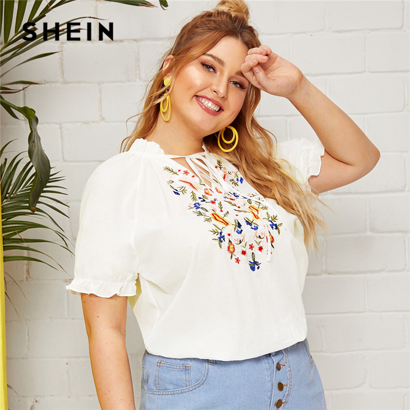 SHEIN Plus Size White Tie Neck Frilled Embroidered Top   Blouse   Women Summer Boho Stand Collar Raglan Sleeve Cute   Blouse     Shirt