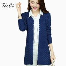 купить Autumn Long Cardigan With Pockets Female Long Sleeve Knitted Cardigans Feminino Tops Plus Size Dark Blue Cardigan Sueter Mujer дешево