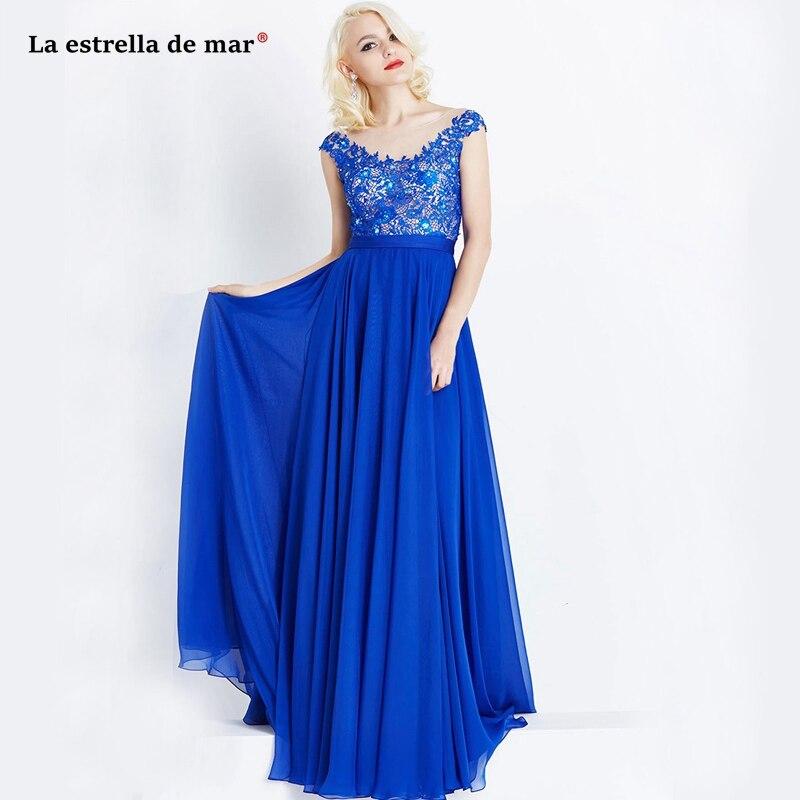 Wedding guest dress2019 new lace chiffon cap sleeve A Line royal blue   bridesmaid     dress   long vestido madrinha custom sukienki na