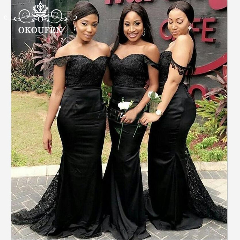 OKOUFEN Black Sheer Lace Mermaid Bridesmaid Dresses For Women 2018 Sexy Off Shoulder Satin Long Party Dress Maid Of Honor Gown