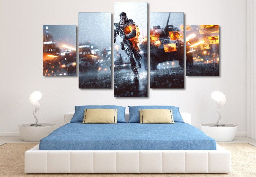 Wall Art 5 Pieces Modern Frame Canvas Pictures Printed Game Battlefield Soldiers Paintings Living Room Home Decor Poster Bedroom 1