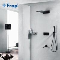 Frap Роскошные латунь черный скрытый для ванны смеситель для душа большой ливень, ванная душ система набор настенные воды смесителя Y24028