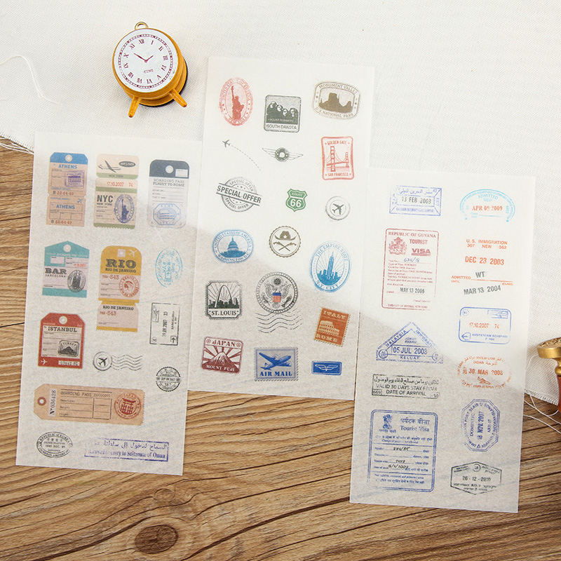 Retro Stationery 6 Sheets Vintage Post Stamp Sticker Postmark Travel Label Seal Dairy Album Decoration DIY Stickers Kids Gift