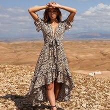 ec9caa58e3a15a9 Летнее сексуальное платье с v-образным вырезом для женщин пляжные платья  цветочный принт шифон Maxi