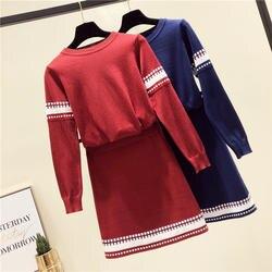 Debowa тонкий свитер юбки комплект Для женщин 2 шт. 2018 новая зимняя вязаная юбка костюмы с длинным рукавом o-образным вырезом Sexy Для женщин юбка