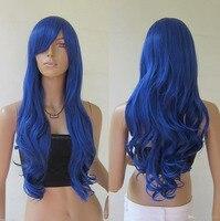 Freeshipping heat resistant kinky havana african american woman >>28 inch 70cm Heat resistant Dark Blue Curly wavy Long Cosplay