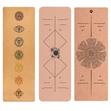 Different designs 183cm*68cm cork yoga mat comfortable non-slip portable outdoor exercise 5mm thick TPE widens