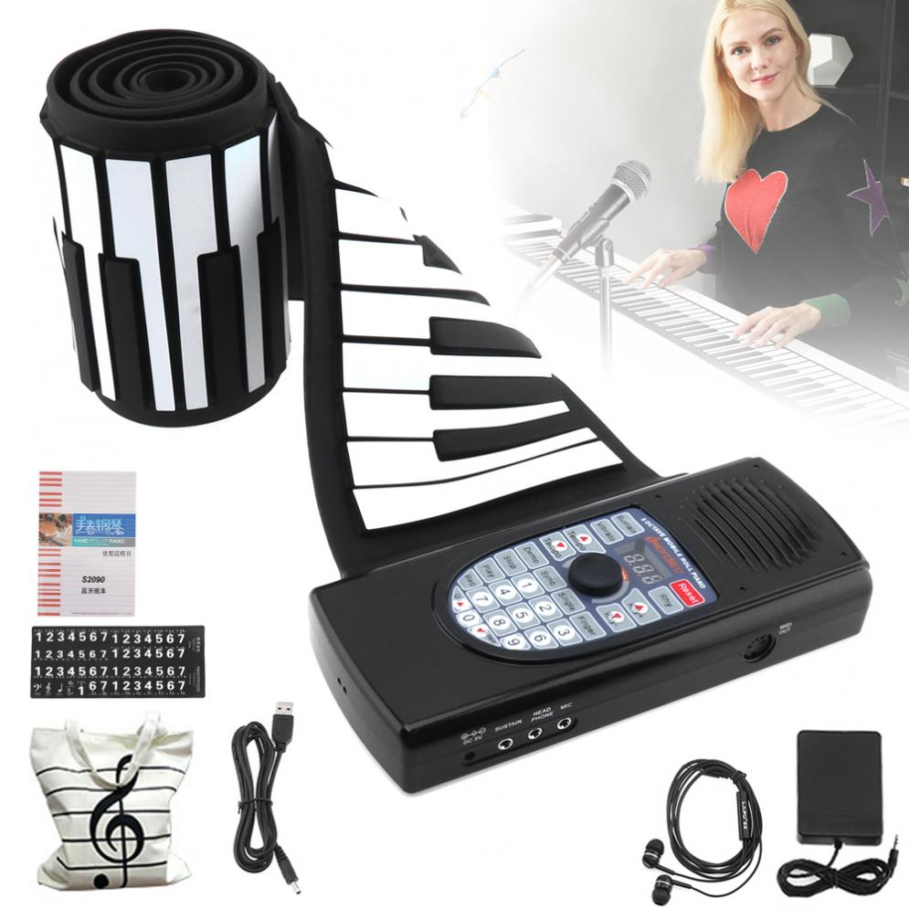 88 Keys USB MIDI Roll Up Piano Rechargeable Electronic Silicone Flexible Keyboard Organ Built-in Speaker Support Bluetooth