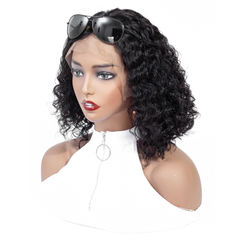 CGG кудрявый боб парики кружева фронта человеческих волос парики для черных женщин предварительно сорвал бразильский Remy короткий боб парики с волосами младенца