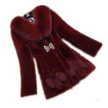 2016 New Faux Rabbit Fur Women Coat Mink Imitation Fox Fur Collar Ladies Overcoat Adjustable Waist Bowknot Diamond Jackets FR009
