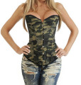 Corset And Bustier For Women Outwear Green Waist train Corset With Lace Up