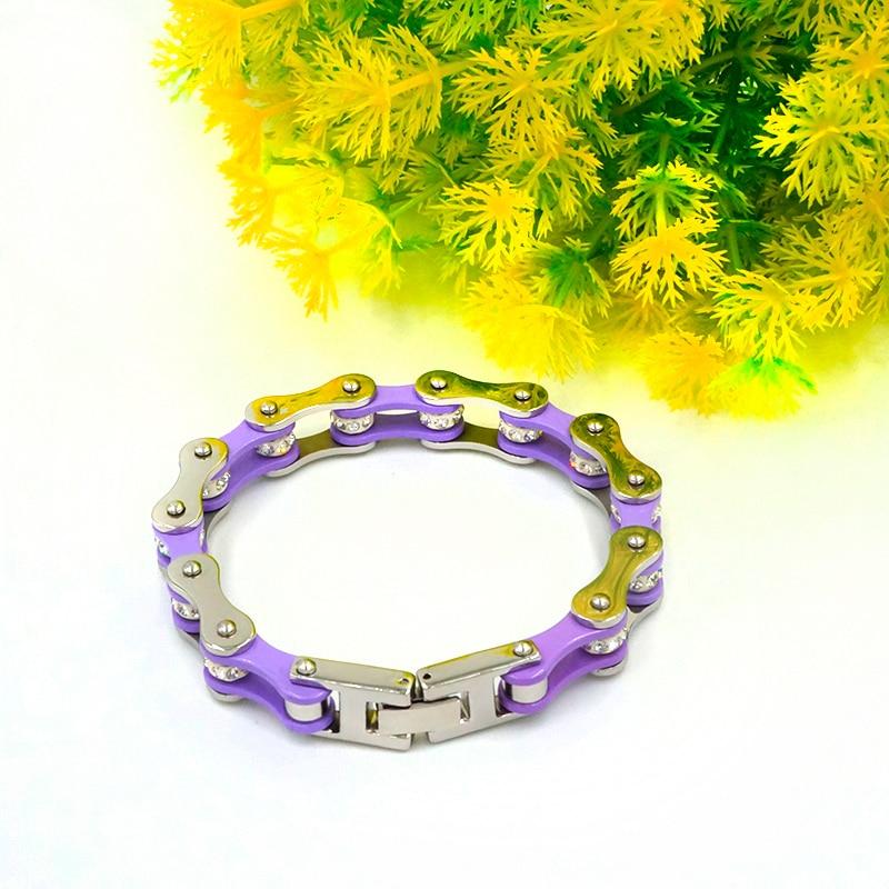 Punk Bike Chain Purple Color Bracelet Women Stainless Steel Link Motorcycle Bracelets Jewelry Gift For Woman in Chain Link Bracelets from Jewelry Accessories