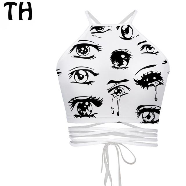 2016 Negro Blanco Ojos Emoji Impresión Del Verano Tops Mujeres Vendaje Crop Tops Chaleco Camisoles Femme Feminino # 160914J Bralettes
