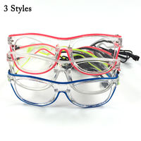 Cheap 30Pieces Double Colors EL Wire Glowing Glasses with Sound activated Holiday Lighting Glasses with Driver Transparent Frame