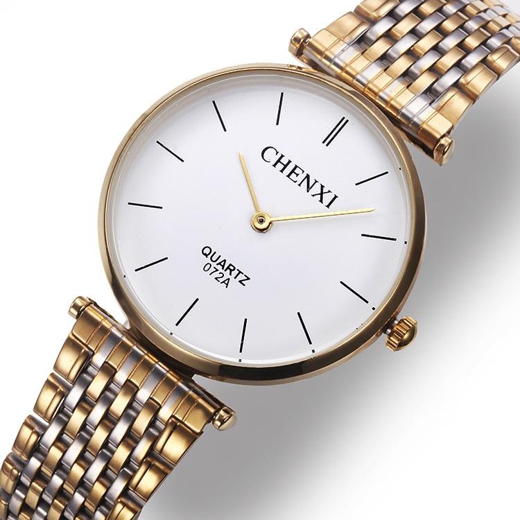 CHENXI Hot Selling Men Women Gold quartz Watches Elegant simple design steel Case Quartz Wrist Watch Brand Designer Lovers gift