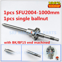 20mm 1pcs Rolled Ballscrew SFU2004 Ball screw L=1000mm +1pcs Flange Single Ballnut with BK/BF15 end machined