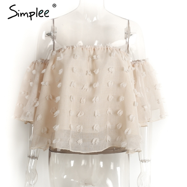 Simplee Sexy off shoulder chiffon blouse women Summer flare sleeve lace blouse Elegant beach party blusas 2017