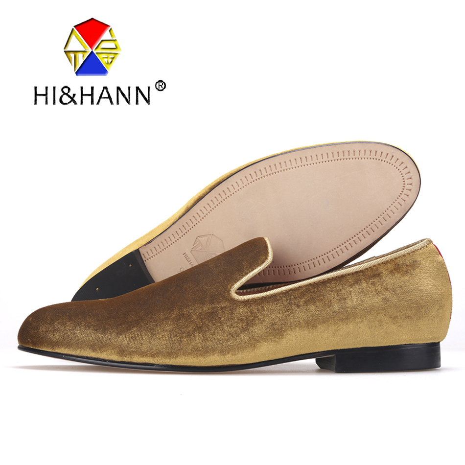 HI&HANN Classic and Handcrafted smoking slippers men luxurious gold velvet shoes with Genuine leather outsole Prom men loafers