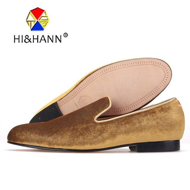 2157014950 US $198.0 |HI & HANN Classico e Artigianale fumatori pantofole degli uomini  di lusso in oro di velluto scarpe con suola in Vera pelle scarpe Prom ...