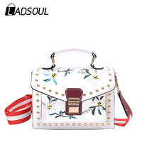 LADSOUL Fashion Embroidery Women Flower Handbag National Style Ladies Shoulder Bags Designer Small Crossbody Bags Bolsa