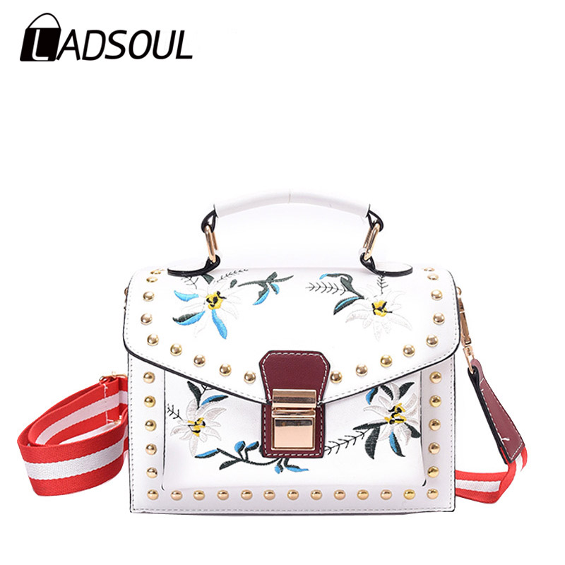 LADSOUL fashion Embroidery women Flower Handbag national style ladies shoulder bags designer Small Crossbody Bags bolsa