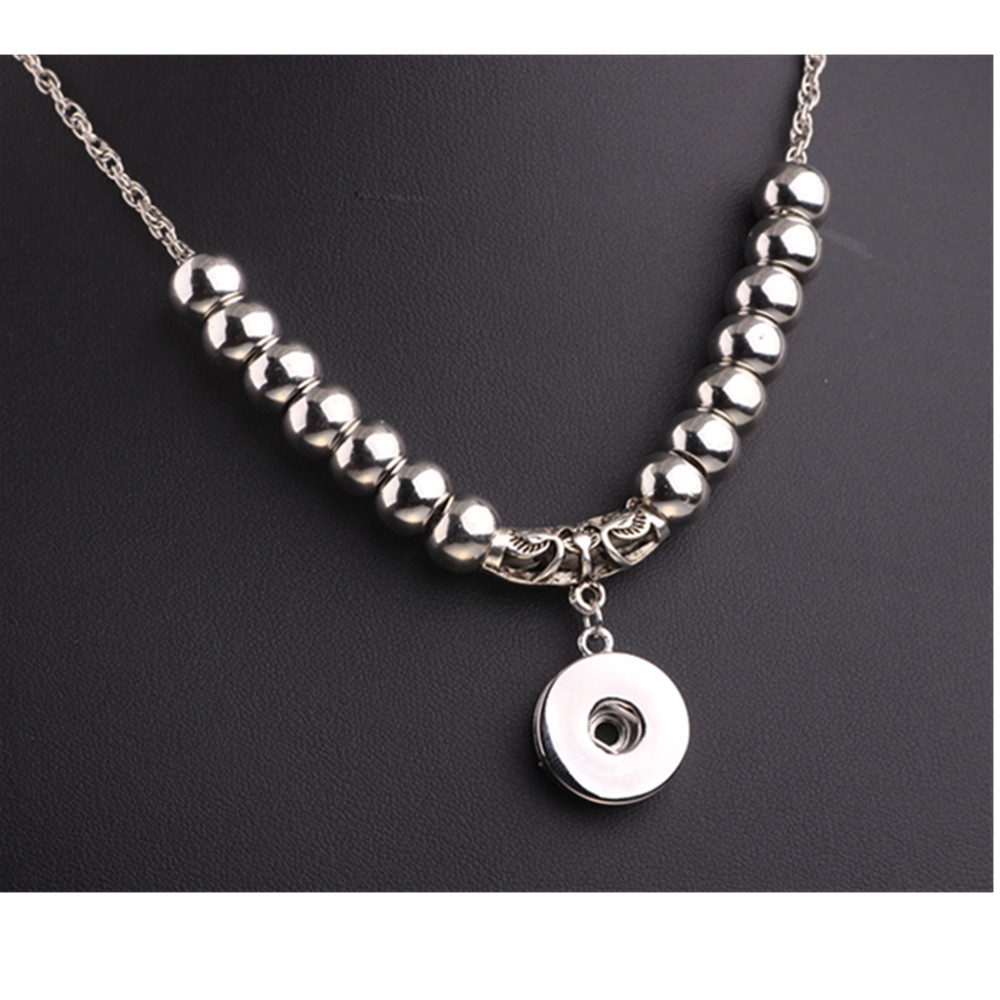 Fashion diy snap button necklace diy snaps interchangeable jewelry fashion diy snap button necklace diy snaps interchangeable jewelry beads with 18mm metal button pendant link chain necklace in pendant necklaces from aloadofball Gallery