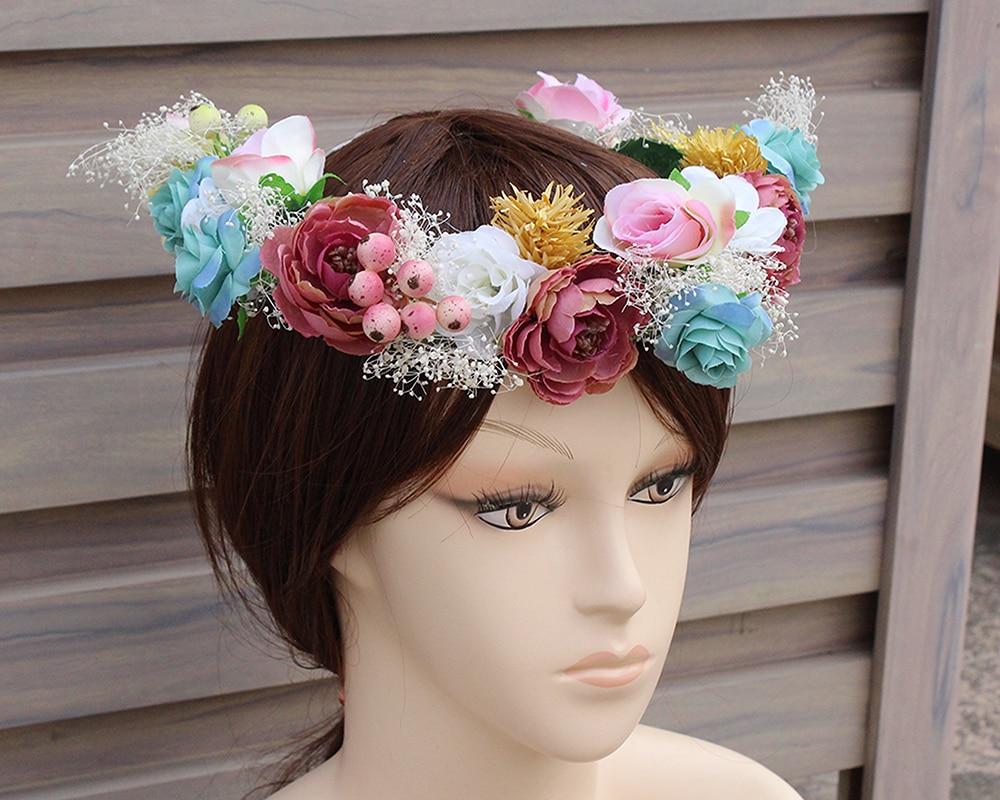 Colorful flower wedding Bridal head wreath flower Crown Headband Fabric  Rose wreath Garland sea Decoration accessories wreath-in Women s Hair  Accessories ... 48c31148acd