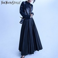 TWOTWINSTYLE Elegant Two Pieces Set Women Autumn 2017 Knitted Turtlemeck Sweater And High Waist Pleated Ankle