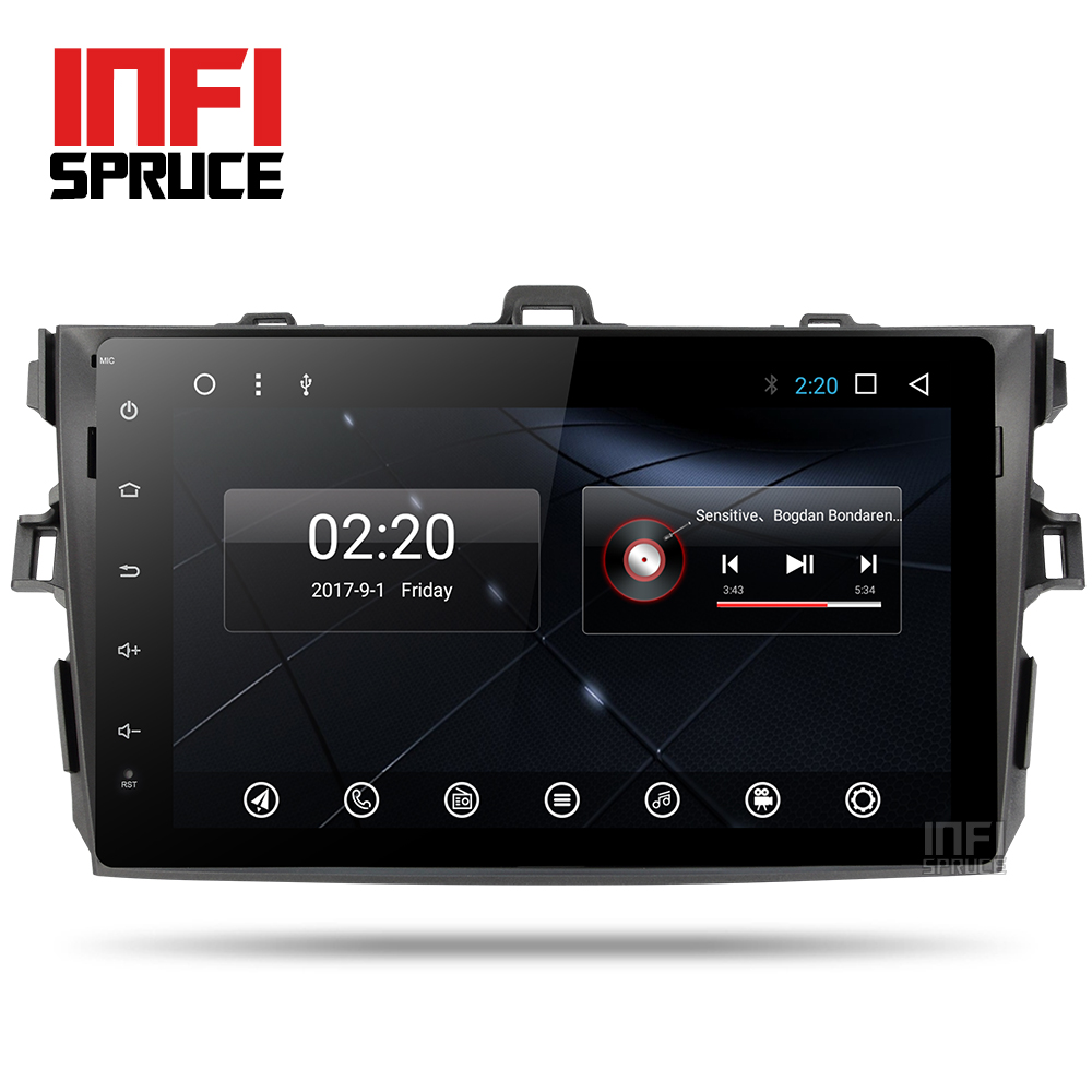 Android 7.1 lecteur dvd de voiture pour Toyota Corolla Huit Core 9 pouce 1024*600 écran de voiture radio stéréo gps de navigation vidéo lecteur