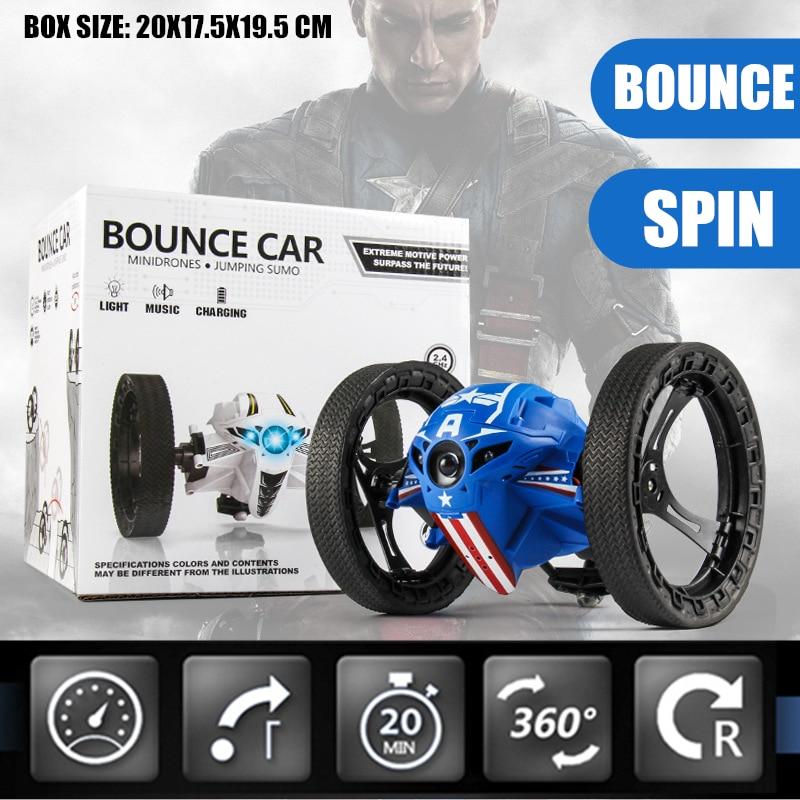 RC CAR LED Light Bounce Car PEG SJ88 2.4GHz RC Car Flexible Wheels Rotation Remote Control Robot Car Toys kid boys avengers Gift