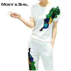 الصيف المرأة بذلات عادية أنثى الطاووس فينيكس الترتر رياضية ملابس امرأة 2 قطعة تعيين زائد حجم S67253R