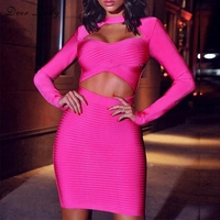 Deer Lady 2019 Sexy Bandage Dress Summer New Arrivals Women Bandage Bodycon Dress Long Sleeve Hot Pink Bandage Dress Club Party