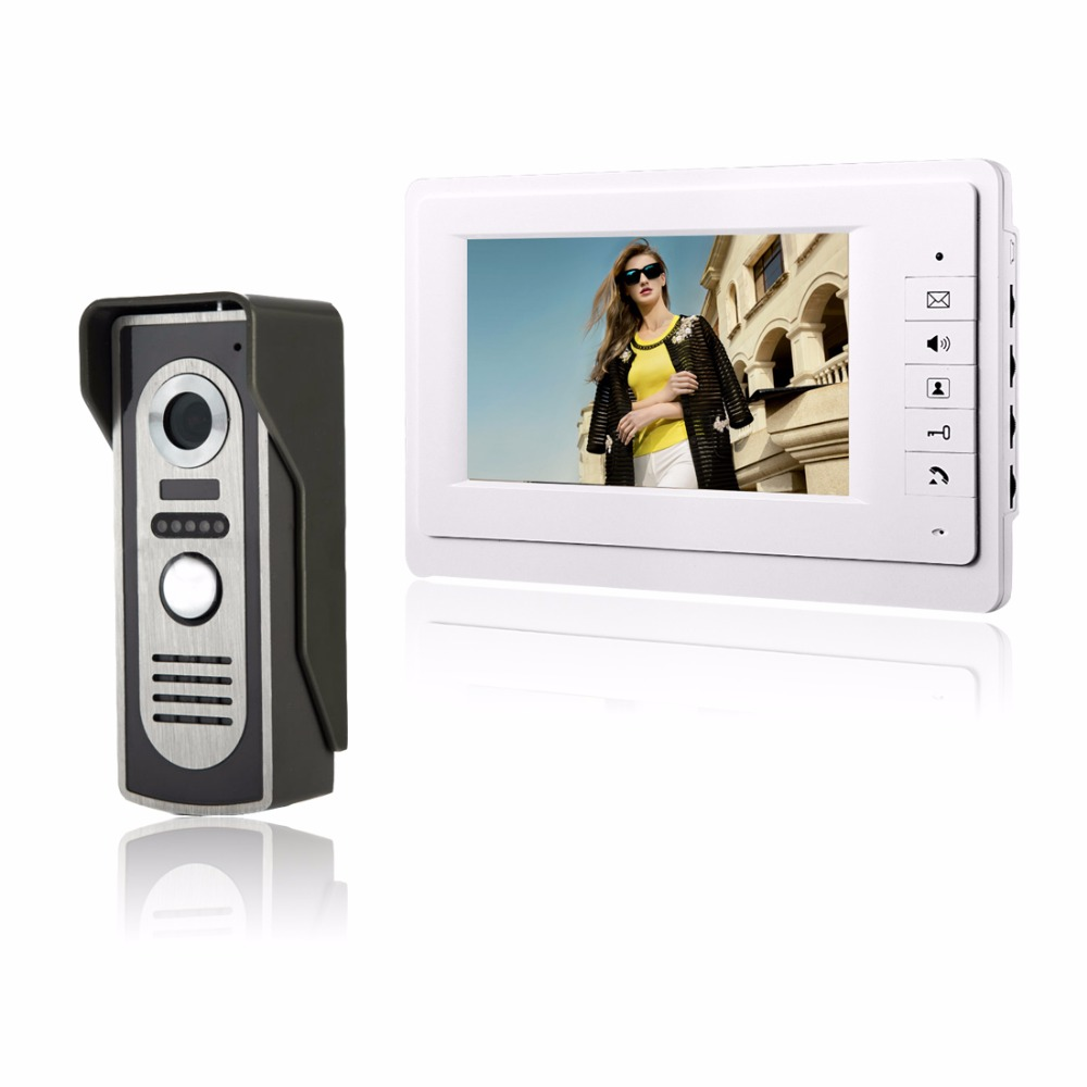 Kit Visual Intercom Doorbell 7 TFT LCD Wired Video Door Phone System Indoor Monitor 700TVL Outdoor IR Camera Support UnlockKit Visual Intercom Doorbell 7 TFT LCD Wired Video Door Phone System Indoor Monitor 700TVL Outdoor IR Camera Support Unlock