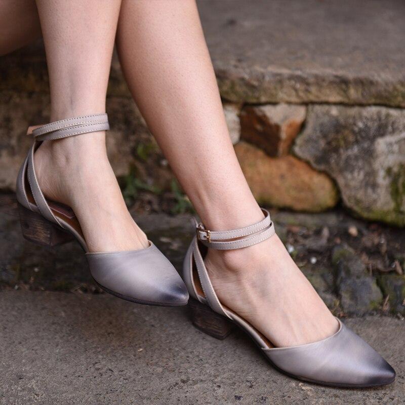 Style Cuir À Réel Printemps Careaymade La Chaussures Grey Américain purple RétroPur Européen d'origine Et MainAvec Nouveau Femmes En Baotou De 4AR3Sc5jLq