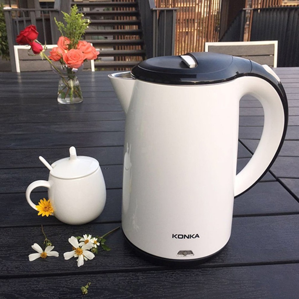 KONKA Stainless Steel Electric Water Kettle High Power Double Layers Scald Proof Kettle Auto-off Quick Electric Boiling Pot konka power board 34007006 kip l220i12c2 01z 35014711
